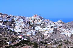 Olympos old greek town. Olympos town at island karpathos, greece Royalty Free Stock Photography
