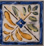 Detail of the traditional tiles from facade of old house. Decorative tiles.Valencian traditional tiles. stock photo