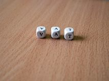 White dice on the table with text VAT royalty free stock photos
