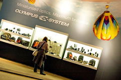 Olympus equipment shop window. Olympus equipment lenses, bags, cameras at Photokina (23.-28.09.2008 Stock Images