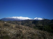 Olympus snowy. Olympus the highest mountain in Greece early February Snowy from a mountain top Royalty Free Stock Photo