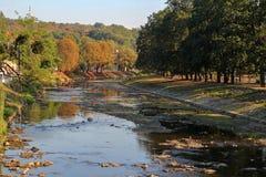 Olza river in Cieszyn. View of Olza river from bridge connecting Cieszyn and Ceski Tesi stock photo