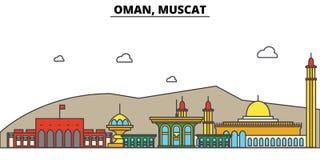 Omã, Muscat Arquitetura da skyline da cidade editable ilustração royalty free