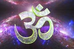 读Om或奥姆标志的印度词 库存例证