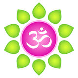 Om. Isolated vector om logo element. White om symbol in lotus flower - in pink circle with green leaves around on white background Stock Photo