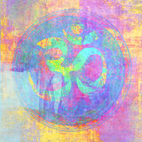 OM. Sign illustrated with higher chakra colors Stock Image