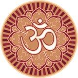Om - Aum -在花玫瑰华饰的符号 免版税库存图片