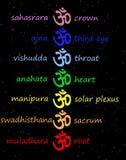 OM/aum coloreados en columna del chakra Fotografía de archivo
