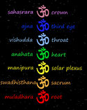 OM/aum coloridos na coluna do chakra Fotografia de Stock