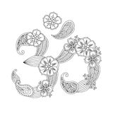 Om, or Aum sign lined with flowers and leaves Royalty Free Stock Photos