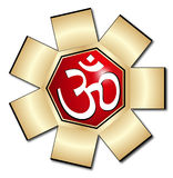 Om aum symbol. In white color frame eps Royalty Free Stock Image