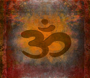Om aum symbol on a grunge texture Royalty Free Stock Photos