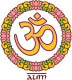 Om - Aum - symbol i Lotus Frame Arkivfoto