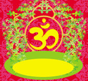 Om aum symbol on a red background Stock Images