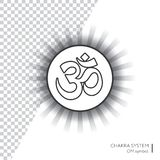 OM - ayurveda, πνευματικότητα, σύμβολο γιόγκας Απεικόνιση Editable, διαφανής κύκλος γύρω Στοκ Εικόνες