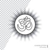 OM - ayurveda, espiritualidad, símbolo de la yoga Ejemplo Editable, círculo transparente alrededor Imagenes de archivo