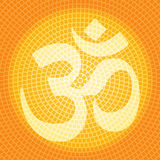 Om background. Aum (om) symbol inside a mosaic radial pattern in yellow and orange Stock Photography