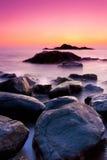 Om beach. A sunset long exposure shot in Om beach Gokarna karnataka India Stock Image