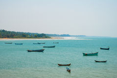 Om beach. Boats of fishermen. Gokarna, Karnataka, India Royalty Free Stock Photo