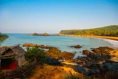 Om beach, Gokarna, Karnataka, India. Beautiful beach with rocks and blue sea. Om beach, Gokarna, Karnataka, India Royalty Free Stock Photography