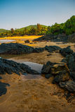 Om beach, Gokarna, Karnataka, India. Beautiful beach with rocks and blue sea. Om beach, Gokarna, Karnataka, India Stock Photos