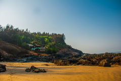Om beach, Gokarna, Karnataka, India. Beautiful beach with rocks and blue sea. Om beach, Gokarna, Karnataka, India Stock Photography