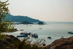 Om beach, Gokarna, Karnataka, India. Beautiful beach with rocks and blue sea. Om beach, Gokarna, Karnataka, India Royalty Free Stock Image