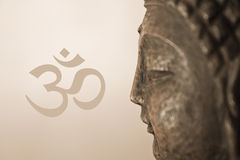 OM Buddha. Buddha Face with Om Sign stock illustration