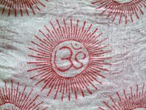 Om on cloth. OM design on a scarf cloth Royalty Free Stock Photo