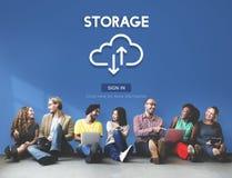 Om datareserv för lagring stort begrepp för information beräknande Arkivbild