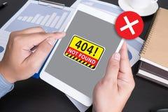 Om de Waarschuwingsprobleem van de 404 Foutenmislukking niet te vinden Stock Afbeeldingen