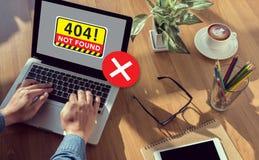 Om de Waarschuwingsprobleem van de 404 Foutenmislukking niet te vinden Royalty-vrije Stock Afbeeldingen