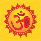 Om in decorated yellow Stock Images