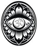 OM dekorativt symbol i rund ram royaltyfri illustrationer