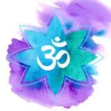 OM in der blauen und grünen Lilie des Aquarells auf violettem Hintergrund vektor abbildung