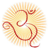 OM - Divine symbol of hinduism. With the power splash background Royalty Free Stock Images