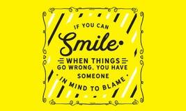 Om du kan le, när saker går fel, har du någon i åtanke som ska klandras stock illustrationer
