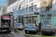 Om een brand te doven Stock Fotografie