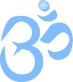 Om- eller Krishna symbol med diamanten arkivbild