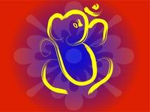 Om Ganesha. Hindu symbol OM and Ganesha on flower background Royalty Free Stock Image