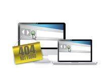404 om hangende banner over elektronika niet te vinden. Stock Foto