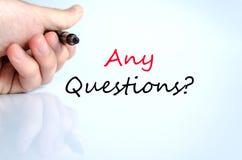 Om het even welk concept van de vragentekst Stock Fotografie