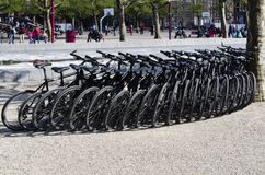 Om het even welke fietsen zij aan zij in het park Museumplein, Netto Amsterdam Stock Afbeeldingen