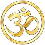OM hindú vector en oro