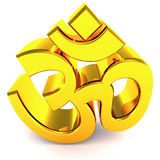Om hindu religious symbol. The hindu religious symbol of OM, made in gold Stock Images