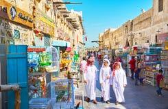 Om huisdieren en vogels in Souq Waqif, Doha, Qatar te kopen Royalty-vrije Stock Foto's