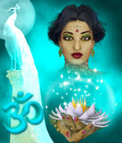 Om. Illustration of the indian woman, lotus flower and white peacock Stock Photography