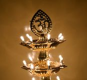 Om Indian religious symbol with shining LED lights Stock Photography
