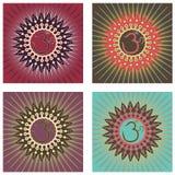 Om Mandala Set. Colorful OM mandala set Stock Photo