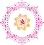 Om mandala yoga and lotus flowers Stock Images